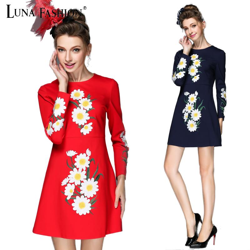 5xl plus size women 4XL 3XL 2XL 2015 autumn embroidery floral long sleeve dress casual bodycon dresses red blue black
