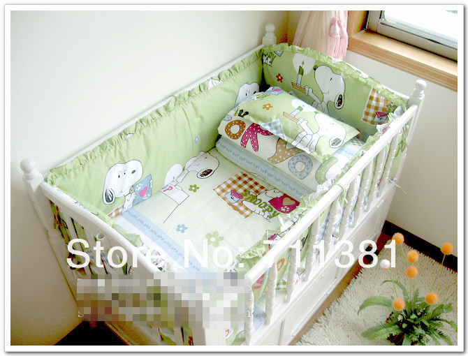 Unpick And Wash, Saft And Comfortable 100% Cotton Baby Bedclothes Set, Baby bedding Set, Quilt Cover +Sheet+ Bumper +Pillowcase<br><br>Aliexpress