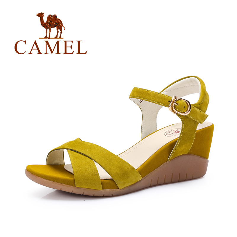 Camel shoes women matte leather buckle strap wedge sandals 2016 summer new minimalist women wedges high heels sandals a62827619(China (Mainland))
