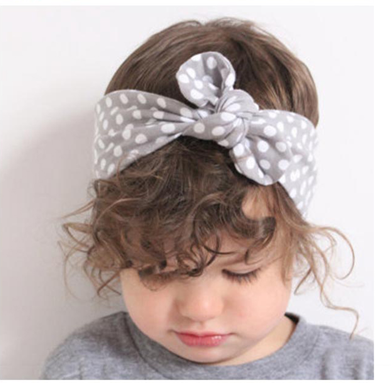 Hot New Rabbit Bunny Ear Hair Accessories Wide Ribbon Bowknot Dot Print Flower Headband Baby Girls Hair bands Wire Bendy Bows W1(China (Mainland))