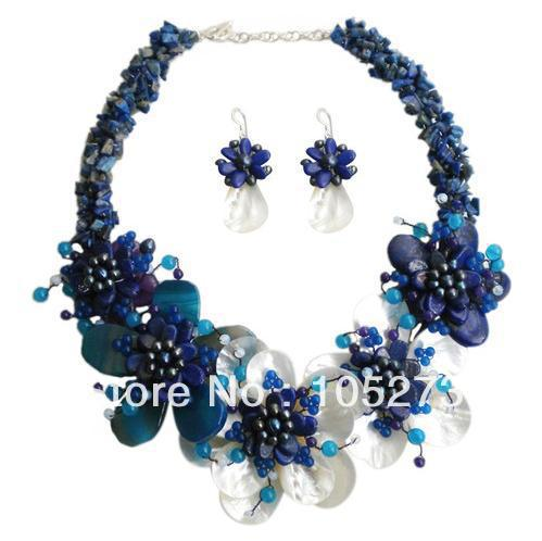 Stunning Natural Shell Blue Lapis Freshwater Pearl Flower Necklace 4-20mm 18 925 Sterling Silver Earrings Fashion Jewelry Set<br><br>Aliexpress