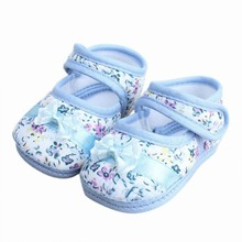 Baby Girls Casual Comforty Crib shoes Floral Bowknot Velcro Cotton Shoes New Free Shipping