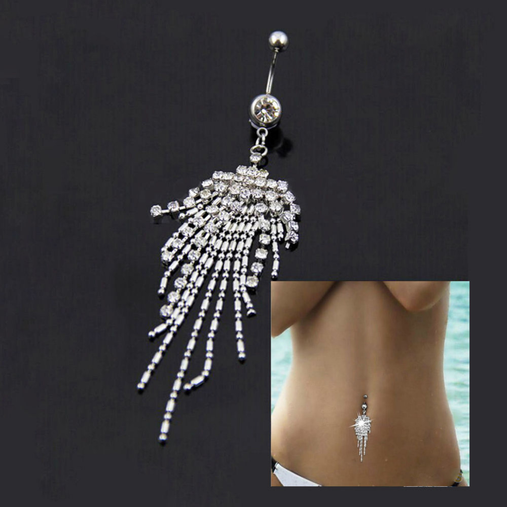 Clear Gem 316L Surgical Steel Tassel Navel Piercing Crystal Rhinestone Dangle Belly Button Ring Fashion Body Jewelry(China (Mainland))