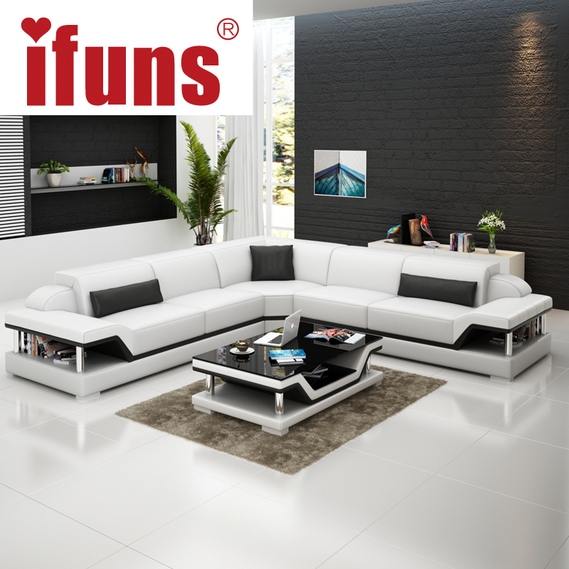 IFUNS l shape corner white cow leather chesterfield sofa modern leather sectional sofa set living room furniture (fr)(China (Mainland))
