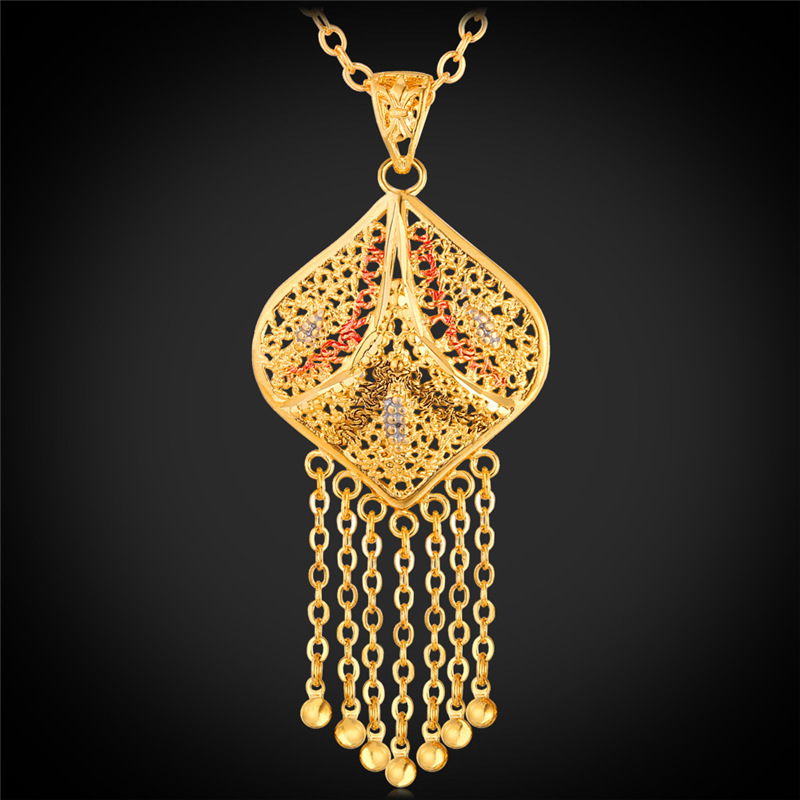 Tassel Pendant Necklace 18K Real Gold Plated Trendy Fashion Jewelry Statement Necklace Hollow Out Fish Pattern Thinen Face P201(China (Mainland))