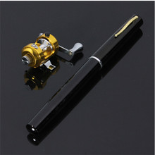 Hot selling Mini Telescopic Portable Pocket Aluminum Alloy Pen Fishing Rod Pole Reel Black Fibre Glass