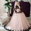 Oumeiya OW162 With Hijab Veils Muslim Bridal High Neck Long Sleeve Pink and Black Wedding Dresses