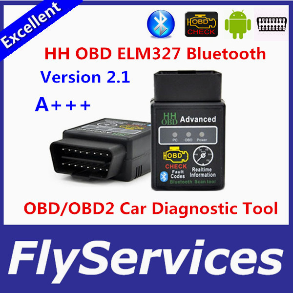New arrival Version 2.1 ELM327 HH OBD Advanced MINI ELM 327 V2.1 Black Bluetooth OBD2 Car CAN Wireless Adapter Scanner Tool(China (Mainland))