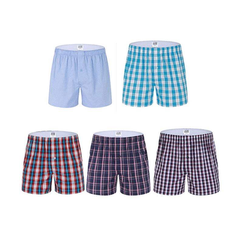 Leisure Plaid Home Pattern Cotton Boxers Woven Comfort Men Boxer Breathable Men Underwear European/American size(China (Mainland))