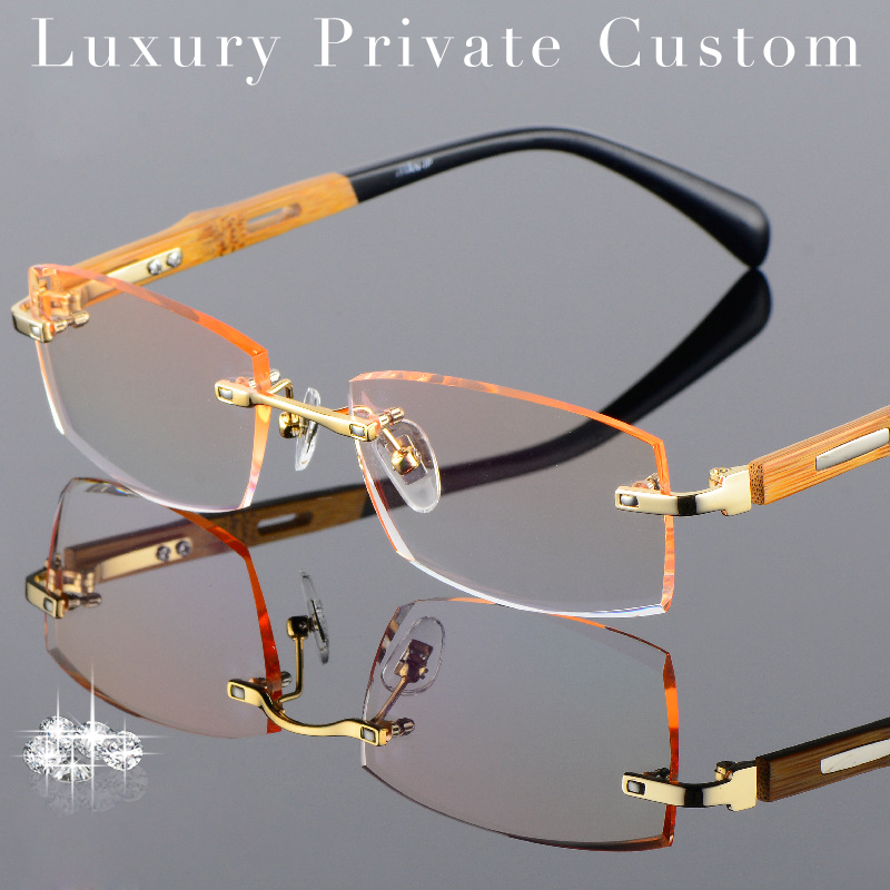 Rimless Glasses With High Prescription : Titanium Eyeglasses Rimless Men Gold Wood Glasses Frame ...