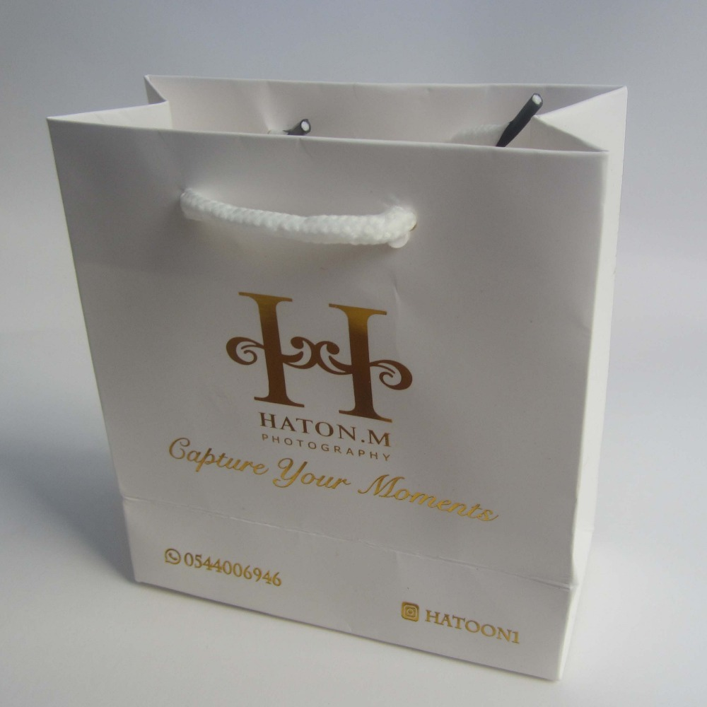 Gold color cardstock paper - 500pcs Lot 14 13 6cm White Bag With Gold Color Print Handmade Paper Hand Bag Custom Printed Logo Available