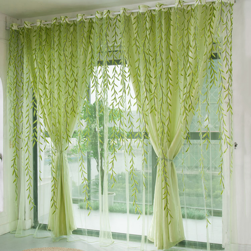 1pcs Green Willow Sheer Curtain For Living Room Window