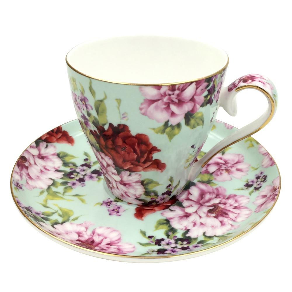 2015 hot sales jsaron vintage bloom flower tea coffee cup with spoon and saucer set coffee mug. Black Bedroom Furniture Sets. Home Design Ideas