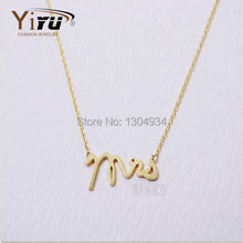 1pc 2015 New MISS Letter Shape Pendant Necklace Cute Tiny Simple Women Fashion Mrs Wedding Gift Gold Silver Necklace N119(China (Mainland))