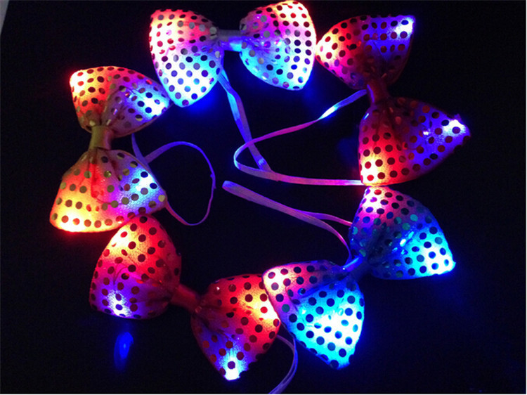 10pcs/lot Led Luminous Neck Tie Mixcolor Flashing Male/Female Fashion Bow Tie ,Party wedding Dancing Stage Glowing Tie(China (Mainland))