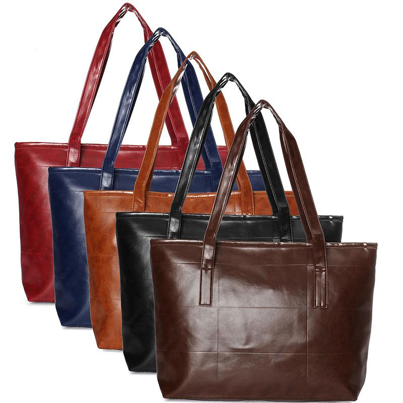 Fashion Women Shoulder Bags Soft PU Leather Ladies Large Capacity Zipper Handbag 5 Colors Casual Totes Simple European Design