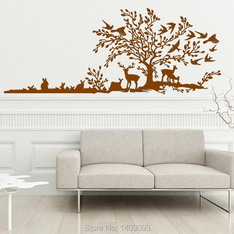 Deer Tree Vinyl Wall Decal Sticker Vivid Design Forest Plant Sticker Bedroom Decoration Vinyl Removable Sided-Visual Wall Decals(China (Mainland))