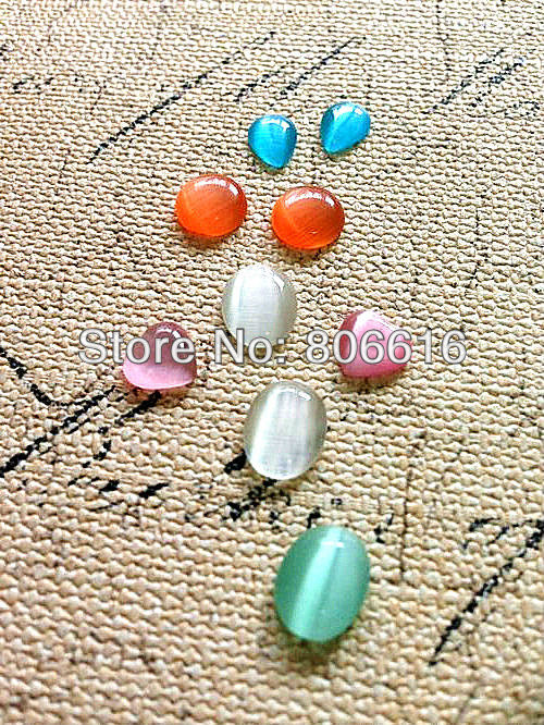 200Pcs Natural Cats Eye Opal Stone Flat Base Semi-precious Beads Jewelry Accessories &amp; Findings<br><br>Aliexpress