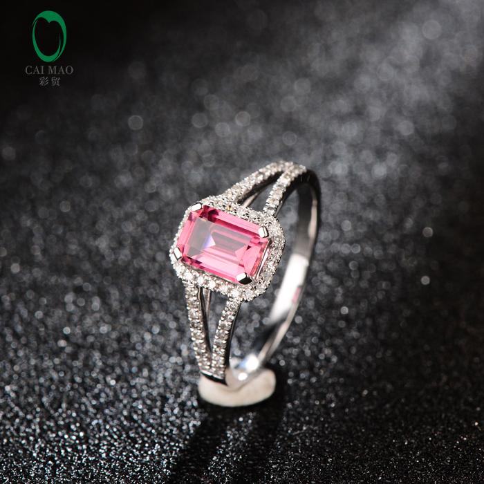 1.02ct Emerald Cut Tourmaline Halo H SI Diamond 14kt White Gold Engagement Ring Hot Sale Free shipping(China (Mainland))