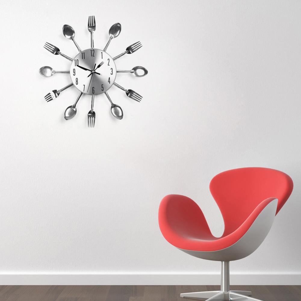 Modern Design Wall Clocks Sliver Cutlery Kitchen Utensil Wall Clock Spoon Fork Clock Home Decor Free Shipping(China (Mainland))