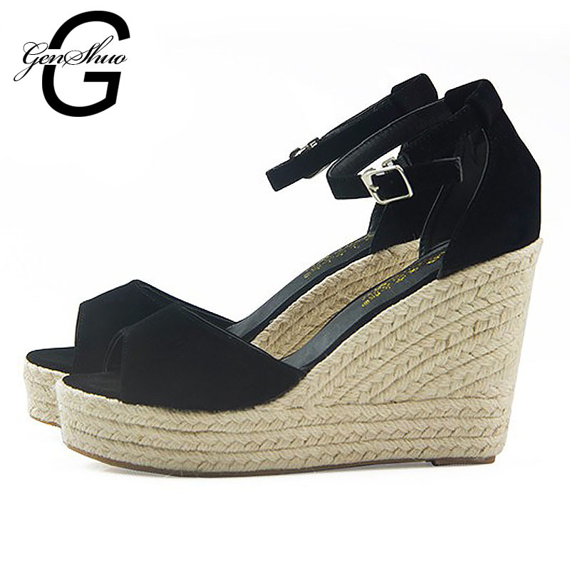 Ladies Shoes 2015 High Heels Sandals Summer Style Women's Open Toe Strap Straw Braid Wedges Platform Espadrilles Big Small Size(China (Mainland))