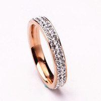 Clay material Crystal Rose Gold Ring Double row stainless steel smooth couple promise marry Gifts brand design fashion ring