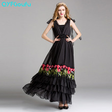 Buy Runway 2017 Women High Tulle Floral Embroidery Maxi Dress Black Red Sleeveless Elegant Pleated Long Party Dresses for $115.00 in AliExpress store