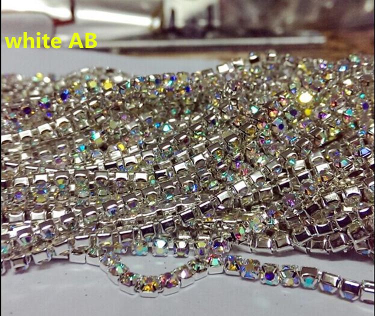 Free shipping ! 2015 hot SS10  White AB rhinestone chain stone silver base Crystal chain Fashion garment accessoies 1 yard(China (Mainland))