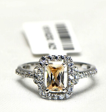 High-end color micro fire jewels Temperament Fang Jing ring(China (Mainland))