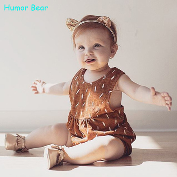 Humor Bear New 2016 style summer White Dots Orange baby girls clothes set cotton suit set Kids clothing infant clothing