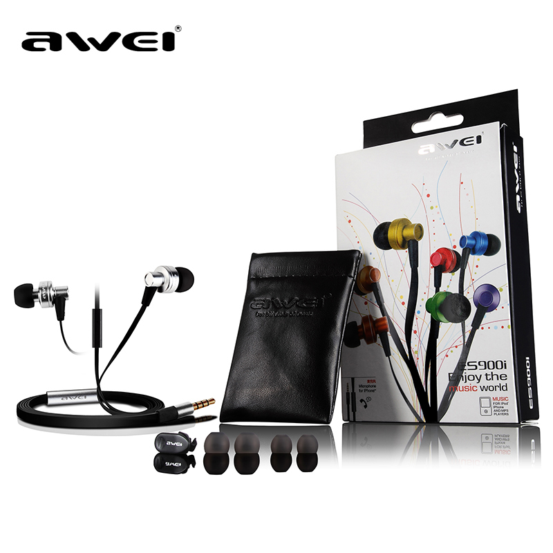Genuine Awei ES900i In-Ear 3.5MM Earphone Clear Bass with Mic Headset Headphone for iPhone iPod Blackberry Samsung HTC MP3(China (Mainland))
