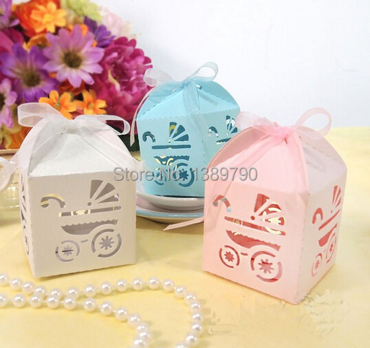 Wedding Laser Cut Favor Box Blue Party Supplies Baby Show