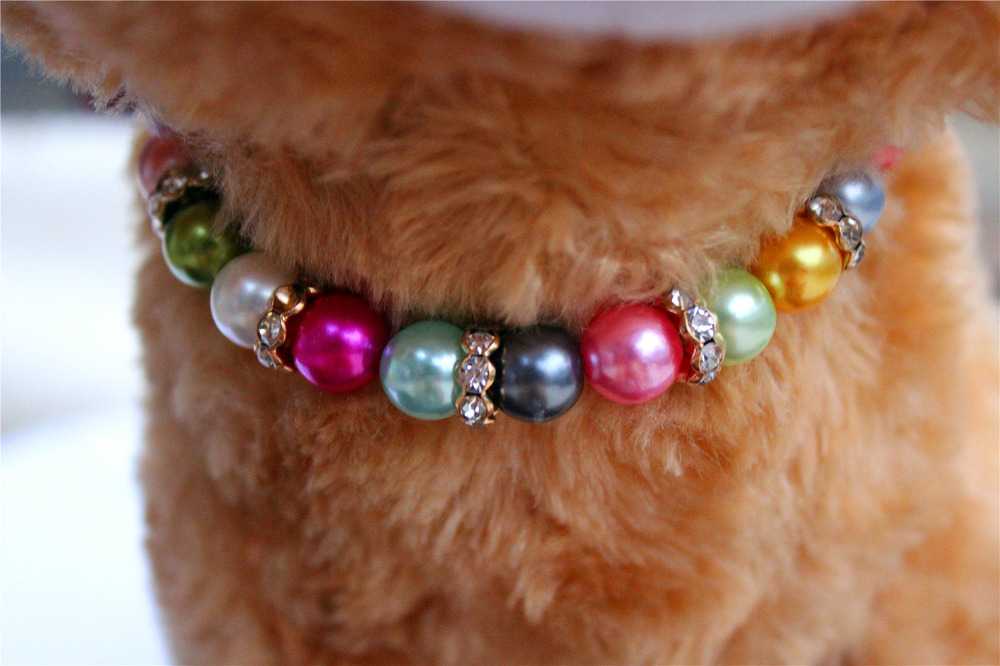 2016 Fashion 1pcs Colorful Bead Pet Necklace Small Dog Party Necklace Cat Collars for Cute Dogs Pet Puppy Small Necklet(China (Mainland))