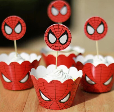 Free Shipping Spider man cupcake wrappers toppers picks decorations for boys kids birthday party favors supplies