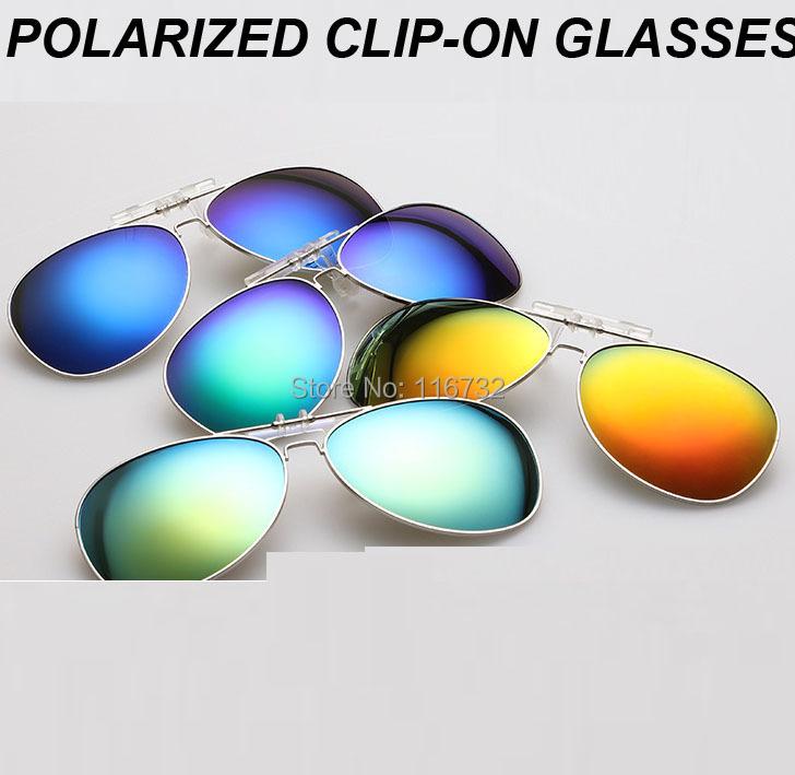 NEW Metal TAC polarized clip-on glasses polaroid silver gold blue sun lenses aviator men driving Myopia big frame Clip on