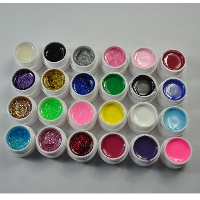 12 Color Glitter + 12 Color Solid Pure Gel Nail Polish Art Fasle Tips Kit Set(China (Mainland))