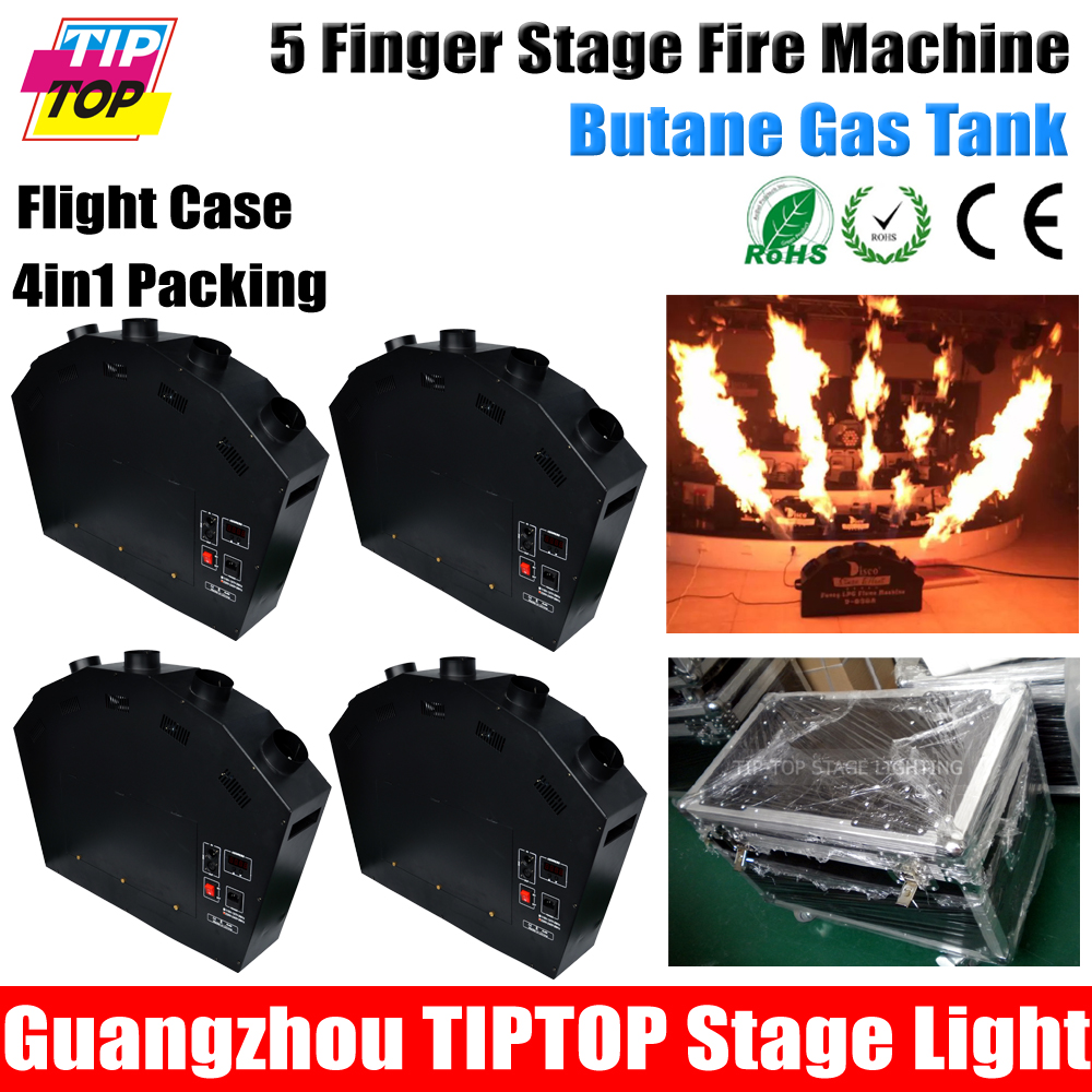 Freeshipping Road Case 4in1 Packing 300W 5 Finger Flame Machine For Stage Disco Show Bar Fire 5 Fire Jet Nozzle High Power(China (Mainland))