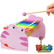 Candice guo! New arrival wooden hand knock xylophone pink frog shaped musical toy 8 scales 1pc(China (Mainland))
