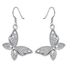 Graceful White Platinum Inlaid Zircon Butterfly Dangle Earrings Long Earrings For Women Fashion Drop Earring Jewelry(China (Mainland))