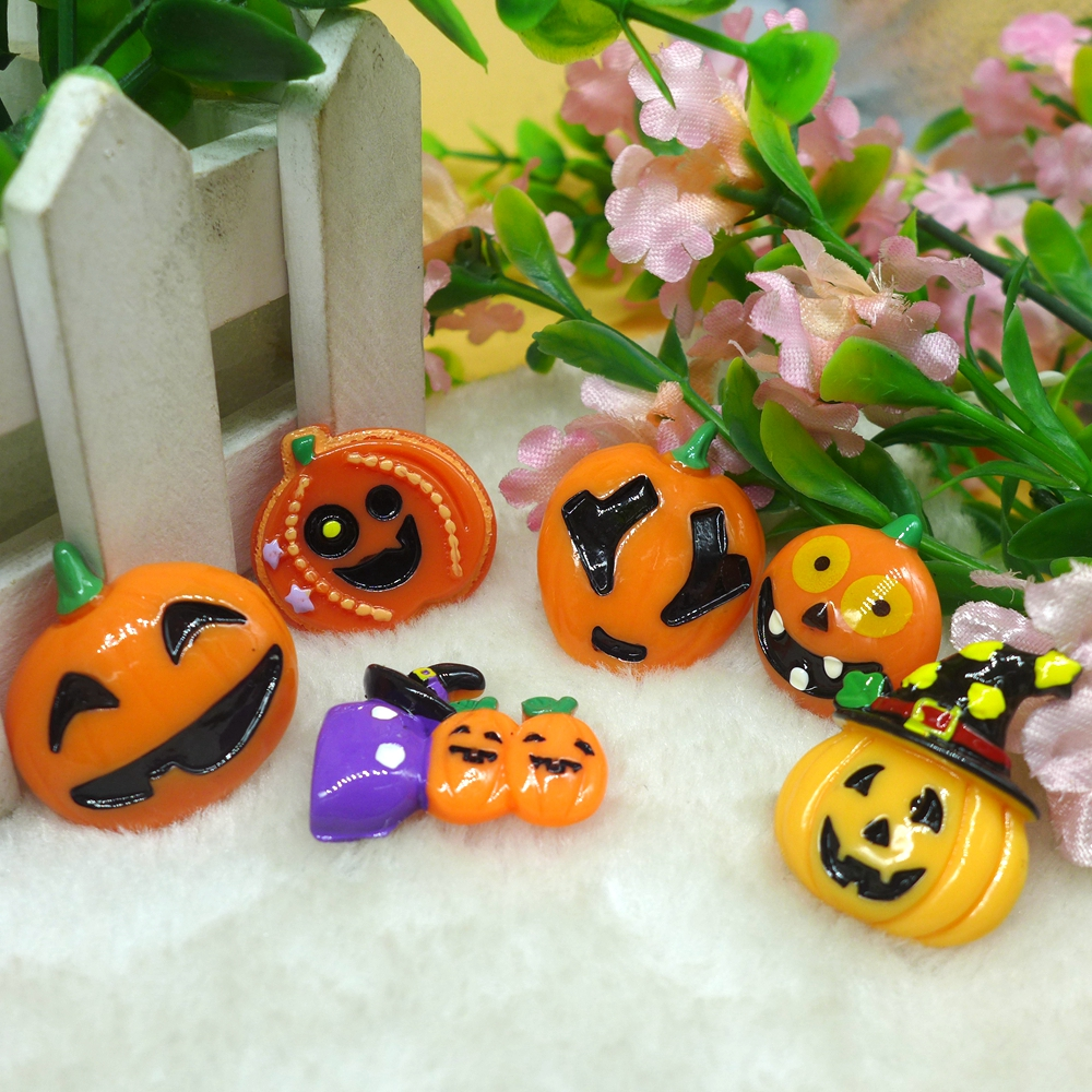 10pcs Halloween Pumpkin Wizard Flatback Resin Cabochon Embellishment DIY Accessories Scrapbooking Crafts for decoration(China (Mainland))