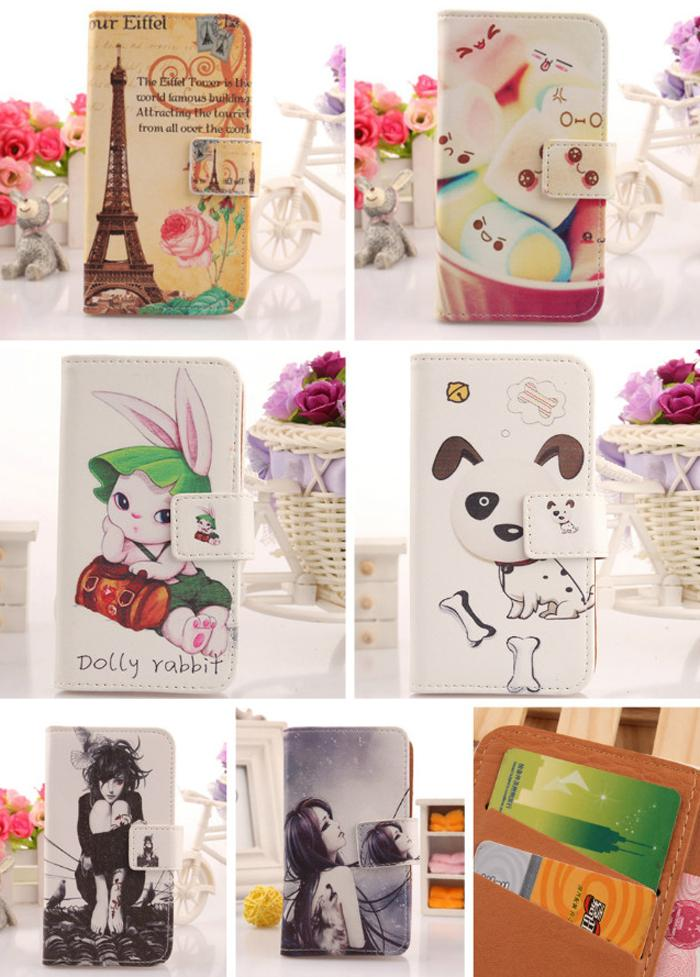 AIYINGE 1PCS Mobile Phone Pouch Holder & Credit Card Cartoon PU Flip Leather Cover Protector Case For Acer Liquid E3 E380(China (Mainland))