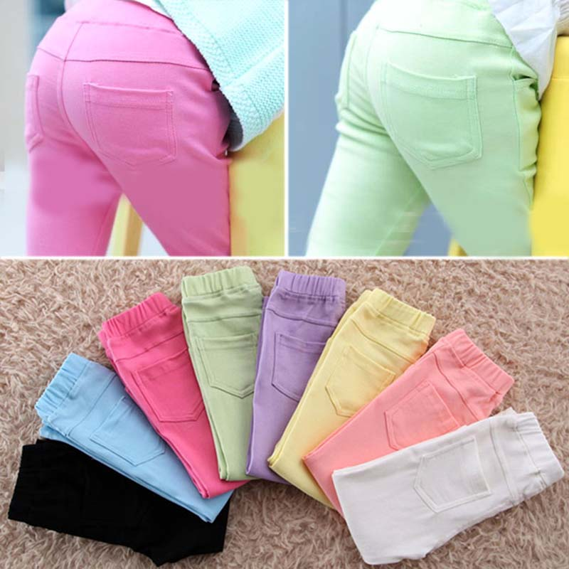 autumn baby Clothing Hot Girls Jeans Candy Color Skinny Children Pants Baby Casual Long toddler girls Trousers - Anniey Store store