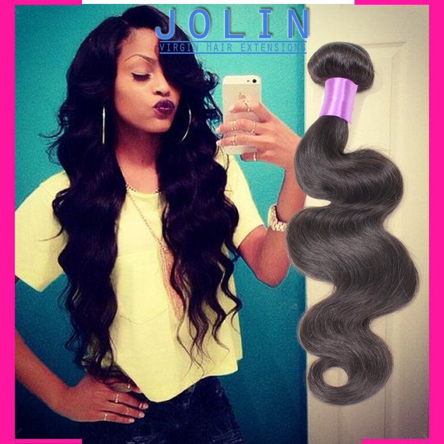 Peruvian virgin hair body wave 4 Bundles 6a Grade Unprocessed Virgin Human Hair Puruvian hair bundles, human hair extensions 1b#(China (Mainland))