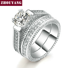 18K White Gold Plated Luxury 2 Rounds Bijoux Fashion Wedding Ring Set AAA+ CZ Diamond Jewelry For Women As Chirstmas Gift ZYR606(China (Mainland))