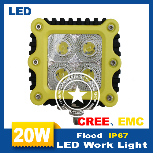 High quality inexpensive 1 pcs 2.5 inch 20W 4 LED Work Light H 1000lm AUTO lights Spot Flood 20W car worklight LED motorcycle(China (Mainland))