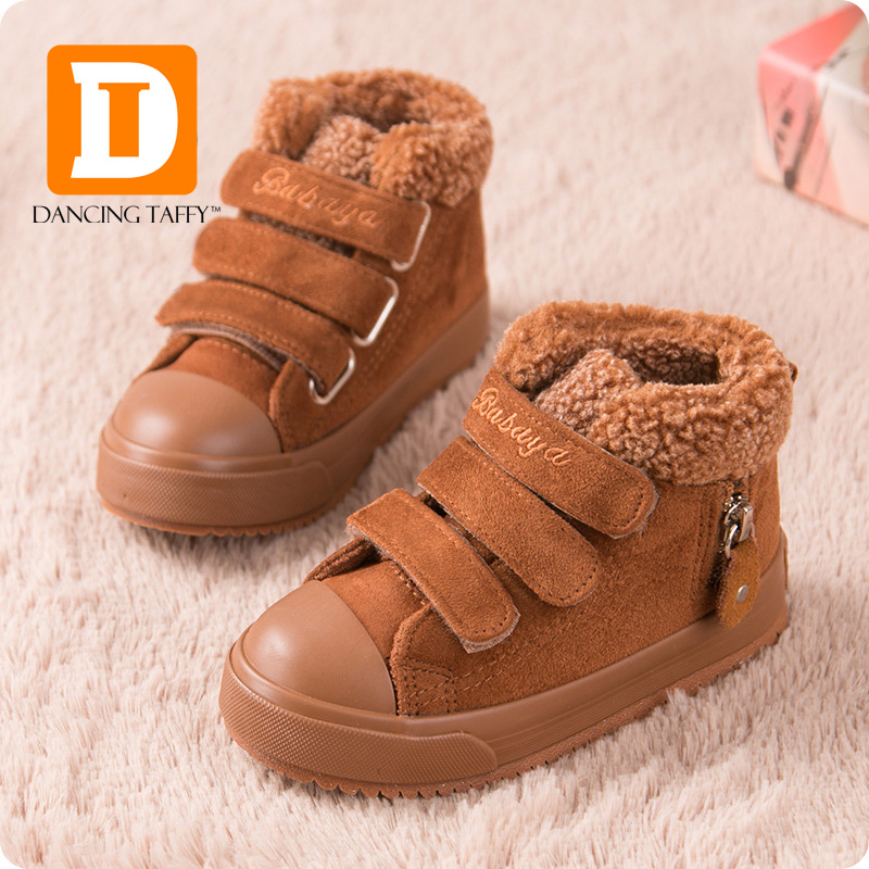 2015 New Brand Winter Fashion Warm Soft Solid Leather Hook Loop Sport Boys Flats Sneakers Kids Children Ankle Snow Boots Shoes(China (Mainland))