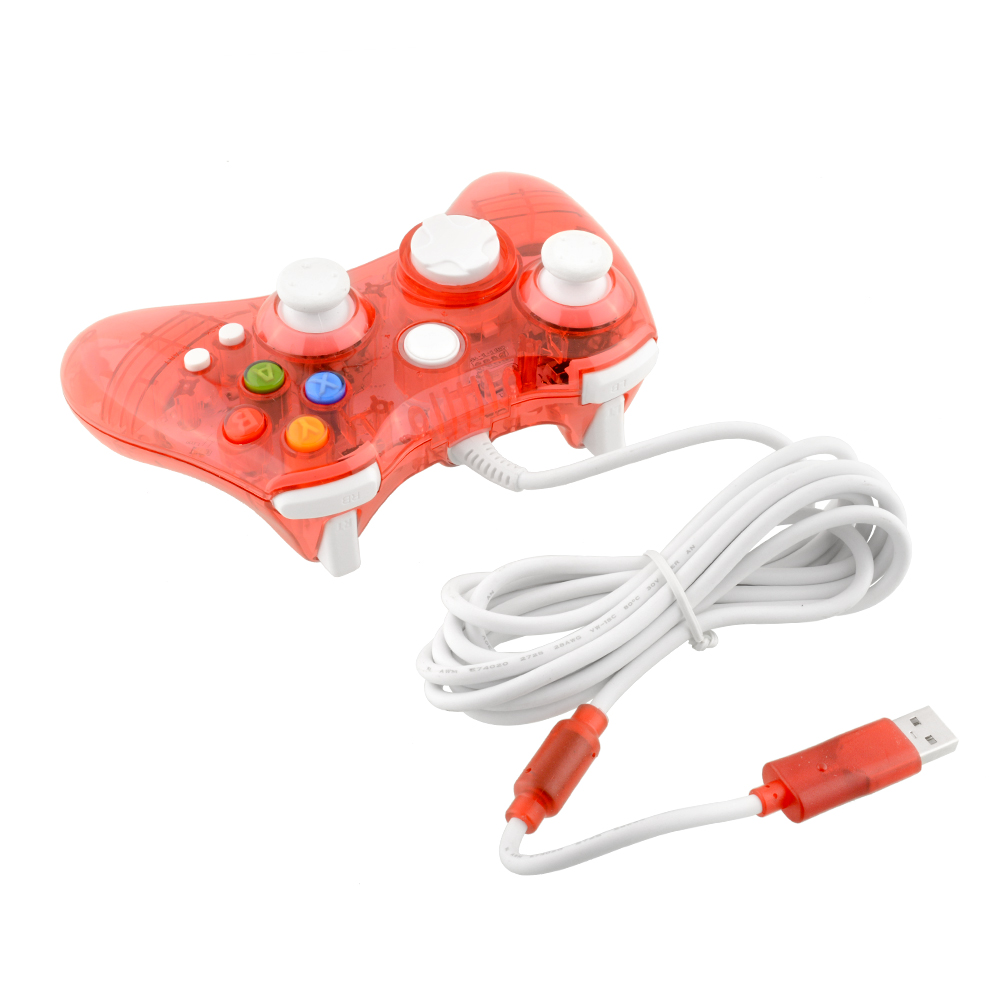 Hot USB Wired Clear Red LED Colour Glow Gaming Controller Gampad Joystick For Microsoft For Xbox 360 Video Games Accessories(China (Mainland))