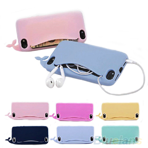 New desing phone bag handbag Kawaii Big Mouth Whale Rubber Soft Case Cover phone case for Apple iPhone 4/ 4S/ 5/ 5S 1D46(China (Mainland))