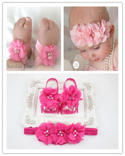 2014 New Baby Girl Flower Shoes with Flower Headband First Walkers Newborn Toddler Barefoot Sandal Shoes 2Sets/ lot