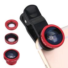 Новый 2015 универсальный мобильный телефон линзы 3 в 1 макро-объектив рыбий глаз объектив для iPhone 5S 6 Samsung S5 S6 HTC M9 LG Sony серебро